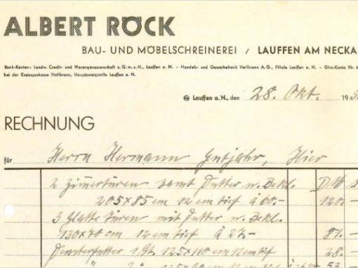 Rechnung aus dem Jahr 1957